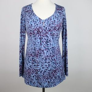 DAISY FUENTES Printed Keyhole Blouse SMALL
